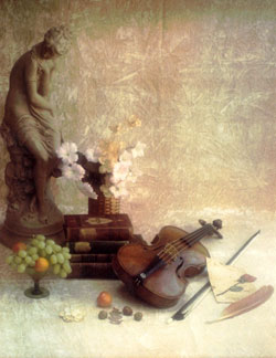 Violin and grapes